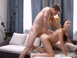 Teeny Lovers - Lily Cat - Teen rides cock like a cowgirl