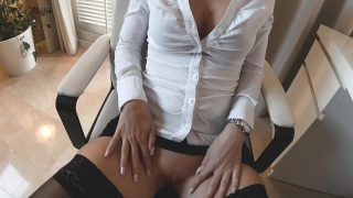 Work pov on the into blowjob hot turns fuck table after stockings big