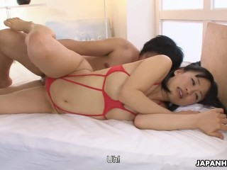 Preview 3 of Petite babe Yui Kyouno sucks hairy dick and gets doggy styled