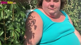 BBW Flashes Fat Belly Outside
