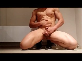 Flexing my hard muscles and shooting huge load all over my abs