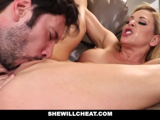 SheWillCheat - Cheating Wife Gags on Cock