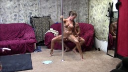 Hot couple pole dance and fuck session