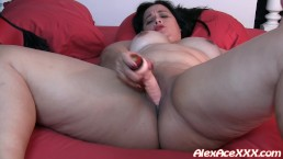 Bbw Gina Leah fucks her pussy with a big dildo