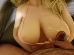 Busty sexy real sex doll cum on tits