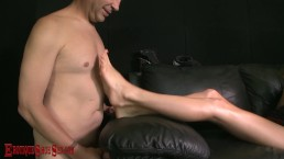 ERIC JOHN worships HOLIDAY PRESLEY's wedges & feet, gets bare feet massage