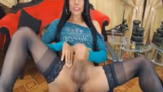 Tranny hard her horny dick massive stroking cock masturbate
