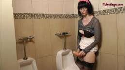 FFstockings - Mature jerking off StrapOn in the Mens Room