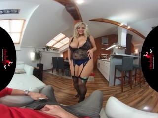 StockingsVR - Man Hungry big boobs big ass blonde milf striptease