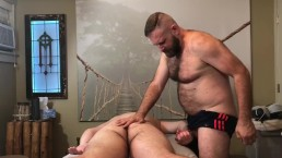 Hairy Dad gives Horny boy massage
