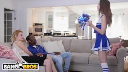 BANGBROS - Cheerleader Riley Reid Rides Her Mom's BF's Big Black Cock