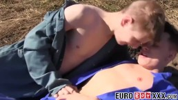 Sweet young euro farm boys fucking hard on a haystack