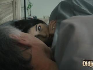 Hairy stepgrandpa fucks teen shoves his cock inside her & she loves it