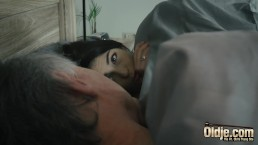 Hairy grandpa fucks teen shoves his cock inside her and she loves it