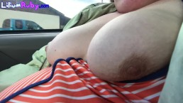Showing Tits in Car-I was nervous to do this but will do it again