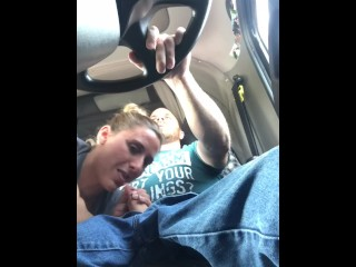 Truckers Wife Sucks all the Cum Out Giving Amazing Road Head