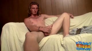 Skinny tattooed twinkie wanks his erect cock and jizzes Cumshot british