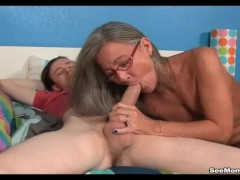 Milf Empties Step-sons Balls Sucking His Thick Cock