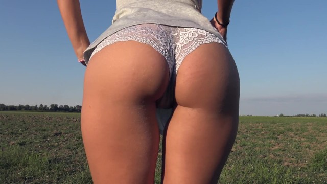 Exterior wall penetration Teasing with my big ass while peeing in grey panties outdoor - 4k panty pee