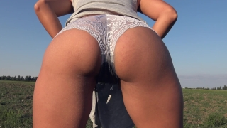 Teasing With My Big Ass While Peeing In Grey Panties Outdoor - 4K Panty Pee Ass oral