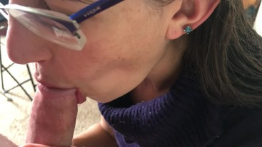 Wife in turtleneck sweater sucking cock with massive facial- viewer request