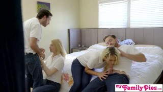 StepSiblings Orgy Fuck In Front Of StepMom - MyFamilyPies S3:E4 Tattoo heels