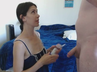 Milf handcuffed and sucking cock CIM and shared cum kiss