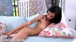 Skinny Destiny Lovee rides her hitachi for you