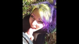 Submissive Goth girl face fucked by boyfriend in the forest POV