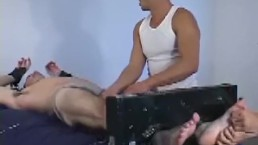 Restrained older deviant cries hard during tickling torment