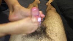 Perfect Toes Tightly Grab Dick In Teen Footjob w/ Big Cumshot on Toes
