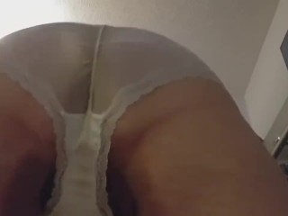 Wearing wife's panties and masturbating Part7