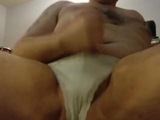 Wearing my wife's panties and masturbating Part12