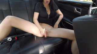 Hot girl masturbating on back seat of the car and wasn't caught - Mini Diva Sucking blowjob
