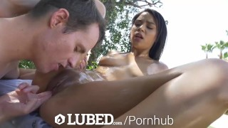 Splish fuck outdoor splash slippery lubed lubed cock