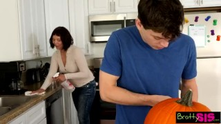 Fucking her a pumpkin bratty caught brother sis she blonde bratty
