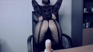 The Cumsultation. Relax in Lele's office.Sloppy dildo suck.Cum on boobs JOI