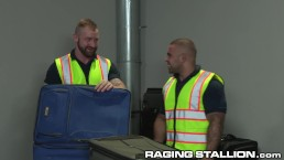 Two Fetish Baggage Claimers Find Toys In Suitcase & USE THEM!