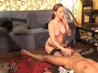 Mistress enjoying her slave with an extreme anal vaginal sex and pee on him