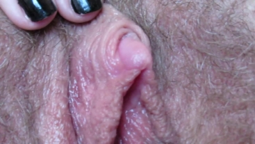 close up hairy big clit pussy labia play