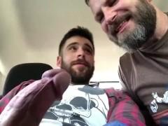 Daddy sucks Boy's big dick in the backseat