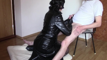 Blowjob and handjob in leather coat