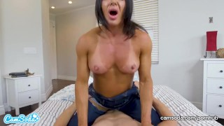Mom rides stepson and begs for creampie  muscle milf big nipples muscle milf fuck tanned milf muscular woman reverse cowgirl mom camsoda dsl cowgirl fbb mother muscle cum inside