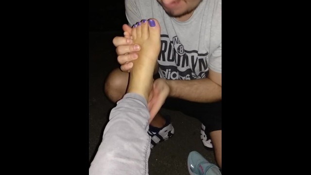 Corination street porn - Street feet licking
