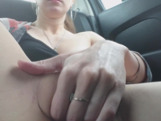 Masturbation in real taxi cab: public jerking off in real taxi