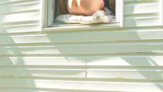 Preview 5 of HORNY dildo orgasm squirting out of window while neighbors are outside!