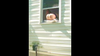 HORNY dildo orgasm squirting out of window while neighbors are outside!  outdoor sex voyeur masturbation wet pussy big dildo dildoing wife voyuer public milf porn stockings spy pussy squirting horny wife dripping wet pussy horny milf