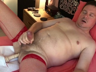 Red Fishnets with a Dildo in my Ass
