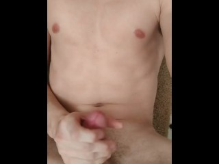 Cumming on my abs and chest