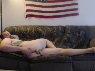 Toying my ass while watching TV